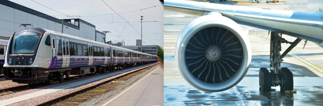 Train and Aeroplane